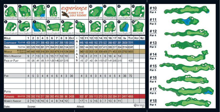 Hawks Eye Golf Bellaire Michigan Scorecard